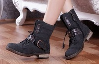 Free shipping Fashion vintage zipper low-heeled boots rivet martin  buckle women's boots.