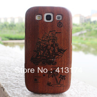 Hot Sale 1piece Sailing wood case cover (mahogany) + 1piece film screen protector = 2pieces/lot for samsung i9300/S3