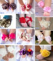 Hot Baby girls Barefoot Sandals Shoes Flower PreWalker Infant Toddler Shoes Foot Ties