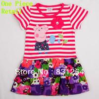 Free Shipping Nova Kids Summer Peppa Pig Baby Girls Dress 100%Cotton Tutu Party Character Novelty Dresses Baby Clothing H4650