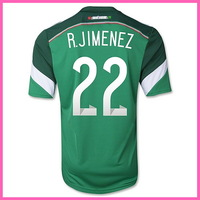 2015 WC Factory Price Player Version Mexico Home Soccer Shirt ,Original Quality Mexico 14/15  Jersey With R.JIMENEZ 22#