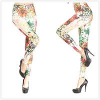 Multicolour flower print seamless legging pants tattoo legging