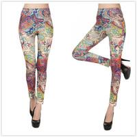 9280 fashion multicolour cashew print flower legging tattoo leggings