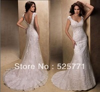 New Style Mermaid V Neck Lace Applique Beautiful White/Ivory Wedding Dresses Bridal Gown Custom Size High Quality