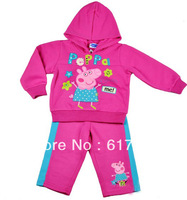 2013 New Girls Clothing Sets Baby Cartoon Clothes Kids Children's sports suits Peppa Pig Pink 2pcs Hoodies+ pants wholesale lot
