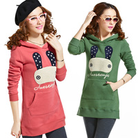 Pullover sweatshirt with a hood plus velvet autumn and winter medium-long thickening fleece outerwear plus size Women 2013
