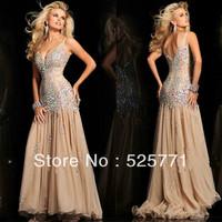 Hot style New Sexy New Long High Quality Chiffon Rhinestone Pageant Evening Prom Dresses Custom Size
