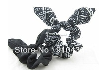 10pairs/lot Women's Fashion Hair Accessories, Fashion 1pc Geometric print +1pc Solid Black Bun Tie, Hair Scrunchie Set
