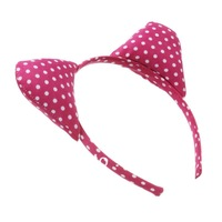 10pcs/lot Women's Fashion Hiar Accessories, Fashion Pink & White Polka Dot Cat ears Hairband