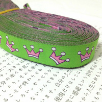 Free Shipping wholesale 5/8'' 16mm  Wide Pink Crowns Lime Tone Woven Jacquard Ribbon