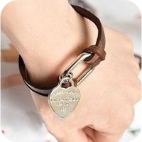 Min.order is $10(mix order)Freeshipping/Fashion vintage leather rope chain alloy heart bracelet BR158