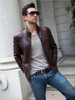 HOT fashion men thicken genuine leather jacket coat genuine leather men's motorcycle keep warm leather jacket coat   M-3XL