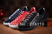Free Shipping 2014 Spring Men's Flat Shoes Fashion Luxury Newest Genuine Leather Sneakers Brand Single Shoes Flats Size 38-45