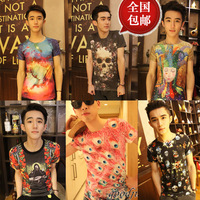 Summer lovers male short-sleeve slim clothes les short-sleeve cartoon patterns graphic t-shirt