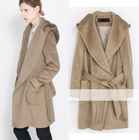 Fashion Hooded Soft Woolen Warm Coats Long Sleeve Belted Long Topcoat With Pockets Camel Loose Winter Outwear ZZ1174