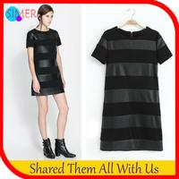 New Fashion Women's Cotton Pu Leather Patchwork Black Striped Dress O-neck Short Sleeve Casual Mini Dress