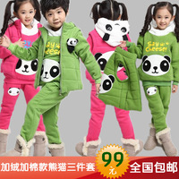 Plus velvet thickening sweatshirt set children's clothing male female child set 2014 piece set child set