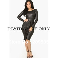 Free Shipping 2013 new fashion women solid leather bandage dress sexy club/party/evening A053 s,m,l