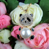 [77 Queen]free shipping wholesale CJ029 panda fashion diamond necklace sweater chain pearl drill black christmas gift fashion