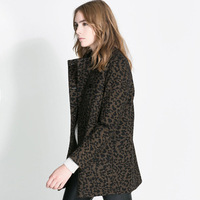 Best Selling Leopard Print Woolen Pea-coat Turn-Down Collar Double Breasted Warm Coats Winter Loose Midi Outwear ZZ1164