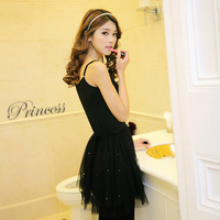 Duoyi 2013 autumn sweet spaghetti strap one-piece dress gauze skirt ccdd basic