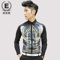 E men's autumn and winter clothing royal nobility long-sleeve shirt slim male the trend of casual shirt