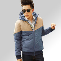 E 2013 winter new arrival men's clothing fashion with a hood cotton clothes male cotton-padded jacket outerwear male