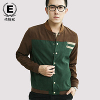E spring and autumn jacket male stand collar men's clothing outerwear slim jacket outerwear male