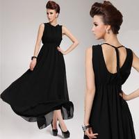 2014 Free Shipping New Arrival Summer Shiffon Lacing Racerback Full Dress Expansion Bottom Chiffon One-piece Dress Female
