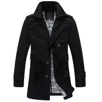 E 2013 male solid color double breasted trench male woolen overcoat outerwear