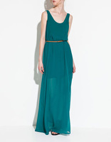 Bohemian Maxi Chiffon Dress New 2013 Fashion Brand Designer Style Dress With Faux Leather Belt High Quality