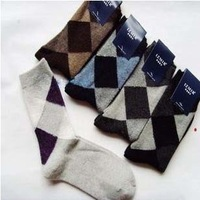 5 Pairs/lot Autumn Winter Korean Socks Rabbit Wool Socks For Men Diamond Lattice Soks 5 Colors Free Shipping