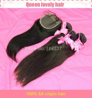 Free shipping 6A Peruvian Virgin Hair Weave Straight PC Lace Top Closure With 3PCS 4Pcs/Lot For A Full Head For Your Nice Hair