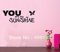 You Are My Sunshine Butterfly Wall Art Stickers Quotes Home Decoration Decor Vinyl lettering words wall decals bedroom