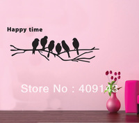 birds on tree branch happy time wall art stickers quotes home decoration decor vinyl lettering words wall decals bedroom
