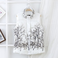 2013 winter low price women's fashion stand collar slim cotton vest Chinese painting vest free shipping
