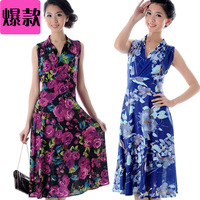 2013 summer slim dance skirt V-neck high waist sleeveless one-piece dress quinquagenarian women's one-piece dress