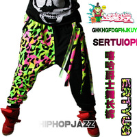Neon tassel jazz dance harem pants hip-hop hiphop jazz loose trousers 0015