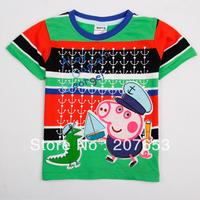 NEW Free shipping 5pcs/lot  children clothes boy summer stripe t-shirt boy character peppa pig emboridery tops boys cool tees