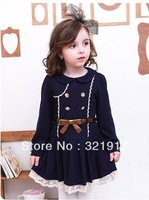 New arrival Free shipping 5pcs/lot Fashion Spring Autumn double-breasted Baby Girl Dress Kids Dress Baby Costumes 2188