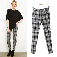 2014 spring new arrival women's fashion fashionable casual slim elastic check skinny pants pencil pants