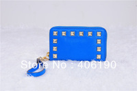 2014 New Phone Bag Pounch Zip Wallet with Stud for iPhone 4 4S 5 with Retail Package Free Shipping (4 Colors)