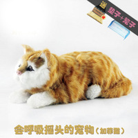 Toy birthday gift shaking his head cat garfield cat breathing artificial cat  free shipping