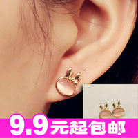 Min.order is $10 (mix order) Moonstone rabbit stud earring fashion vintage - eye earrings earring female