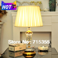 2014 new listing all copper crystal lamp European luxury living room study bedroom bedside lamp E27 light source