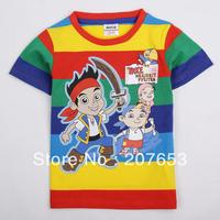 NEW Free shipping 5pcs/lot  children clothes boy summer orange and stripe stripe t-shirt boy cartoon  tops boys cool tees