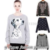New Fashion Ladies' Dalmatian pattern spotty dog pullover vintage Casual Slim sweatshirt knitwear brand designer Tops