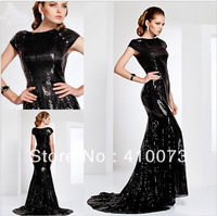 Elegant Sequined Wholesale Short Sleeve Black Dress