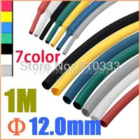 1M 12.0mm Mix-Color 2:1 Polyolefin Heat Shrink Tubing Tube Sleeve Sleeving   free shipping