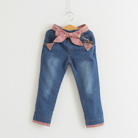 Female child baby thick plus velvet jeans bb 100% cotton thermal winter